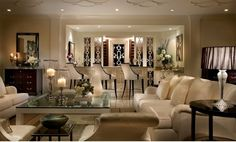 INSPIRATION: Have a great Tuxedo night everynight with your friends in this chic lavish classic living room!