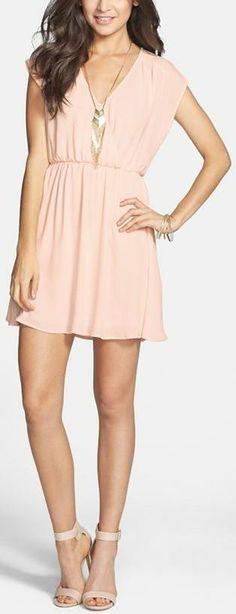 Lush Katie Surplice Chiffon Skater Dress
