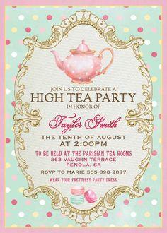 Tea party baby shower invitation tea party invitations invitation high tea invitation for kitchen tea tea by westminsterpaperco stopboris Choice Image