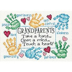 'Grandparents Touch A Heart' Cross Stitch Kit
