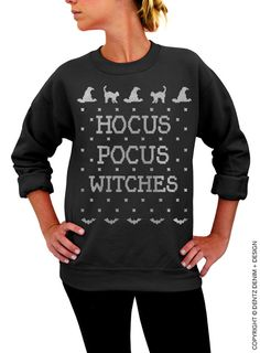 """Use coupon code """"pinterest"""" Halloween Shirt - SALE - Hocus Pocus Witches - Black with Silver Unisex Crew Neck by DentzDesign"""