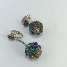 Rhinestone Disco Ball Earrings Multicolored Rhinestone by ravished