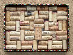 Wine Cork Board with Multicolored Pin Head Border by by Lolailo, $17.99