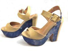 Anabela meia pata casual,cor nude e lateral na cor jeans. Salto com 13cm, toda moderna feita de couro ecológico.
