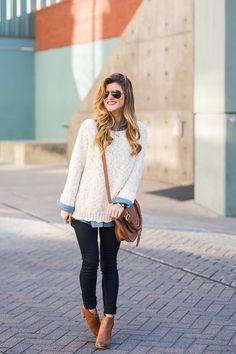 jean shirt + oversized sweater + booties