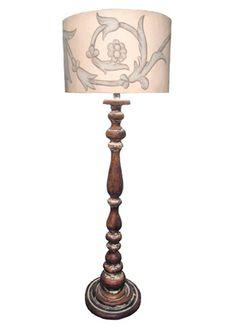 Bhs Illuminate Monty Floor Lamp Blond Turned Wood