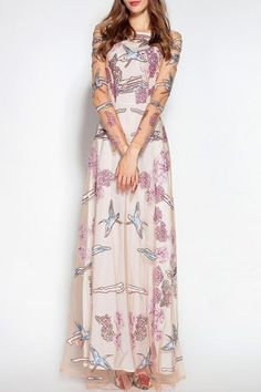 c4a6383fd48 Shop sunpin pink embroidered tulle maxi dress here