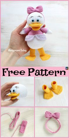 Crochet Amigurumi Animal Webby Duck Amigurumi - Free Pattern - This Crochet Webby Duck Amigurumi is a really great project that you could work on, and it would be a really great gift for a young child. Crochet Giraffe Pattern, Crochet Amigurumi Free Patterns, Crochet Motifs, Crochet Animal Patterns, Crochet Dolls, Cute Crochet, Crochet Crafts, Crochet Projects, Diy Projects