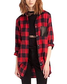 f297b9bbfebf 2016 Autumn Hot Sale New Design Turn-down Collar Red and Black Plaid Print  loose Casual Women Shirt Red