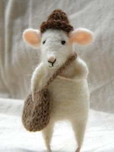 Little mouse with cherry  needle felted ornament by feltingdreams