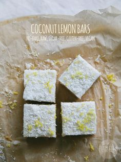 Pure Ella | No-bake, Raw Coconut Lemon Bars : sugar-free, gluten-free, vegan, guilt-free! https://www.pureella.com