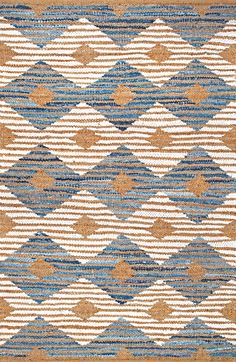 Loving the color combination of this Rugs USA Boardwalk DR02 Hand Braided Denim And Jute Striped Diamonds Rug!