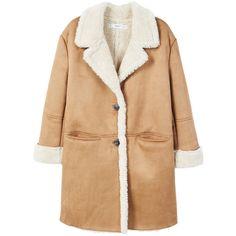 Faux Shearling Lining Coat (€100) ❤ liked on Polyvore featuring outerwear, coats, clothes / coats, coats & jackets, mango coats, lapel coats, sherpa coat, beige coat and faux-shearling coats