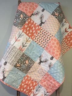 Fawn Baby Girl Quilt,  Deer Woodland Birch Arrows Baby Quilt, Coral Peach Pink Blue Baby Quilt, Crib Bedding, Baby Bedding, Woodland Nursery by 31RubiesQuiltStudio on Etsy