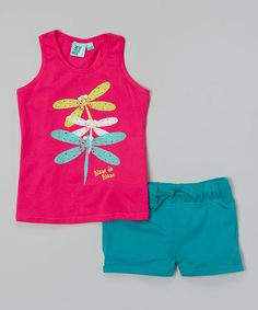 Look what I found on #zulily! Fuchsia Dragonfly Tank  Turquoise Shorts - Toddler  Girls #zulilyfinds