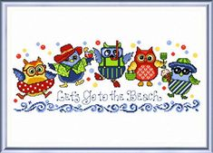 Beach Owls - cross stitch pattern designed by Ursula Michael.