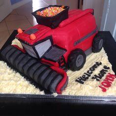 Red case combine harvester cake, vanilla yum yum