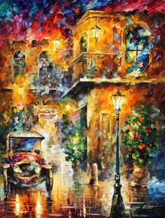 Leonid Afremov, oil on canvas, palette knife, buy original paintings, art, famous artist, biography, official page, online gallery, figures, forest, autumn, couple, umbrella, park, landscape, leaf, fall, walking, people, city, night, streets, rain, trees