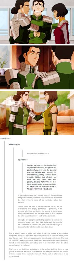 Kuvira is an excellent manipulator. Because I don't think there's any other way to read this than a power play. It's just a very deft, non-aggressive (or covertly aggressive) one. She uses her personal connection to these people as a way of disarming them, presenting herself as the reasonable, conciliatory one in an interaction where the other person is angry or confused.