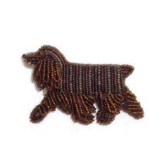 Beaded Chocolate Cocker Spaniel Brooch Pendant Etsy amazon Handmade Bead embroidery beadwork dog pet jewelry