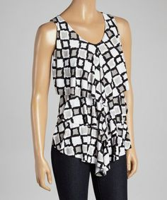 Another great find on #zulily! Black & White Square Tiered V-Neck Tank #zulilyfinds