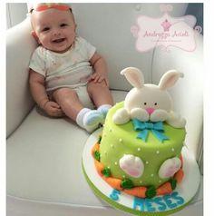 Imagem relacionada Cake Decorating Courses, Cake Decorating With Fondant, Cake Decorating Tutorials, Easter Bunny Cake, Bunny Birthday, Easter Cookies, Fondant Cakes, Cupcake Cakes, Miffy Cake
