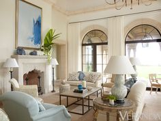 Living Room with Pretty Fireplace - Villa Perfecta by Jane Schwab and Cindy Smith of Circa Interiors via Veranda Magazine