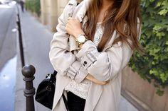 Paris - Beige trench, wrap skirt