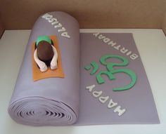 Yoga Fanatic Birthday yellow cake roll w/mocha bc covered in mmf with mmf yoga girl and accents Gym Cake, Yoga Party, Birthday Cake Girls, Birthday Cakes, Birthday Parties, Happy Birthday, Yoga Themes, Yoga Decor, Spring Party