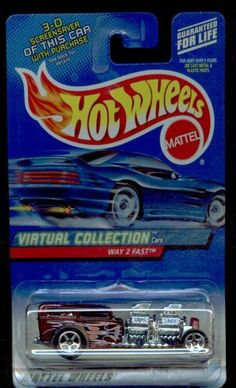 #2000-115 Burgandy WAY 2 FAST Virtual Collection Collectible Collector Car Mattel Hot Wheels 1:64 Scale by Mattel. $0.01. Diecast Metal Hot Wheels Cars are Perfect For that Hot Wheels Collector!. Great Investment!. Perfect for any Hot wheels Car Collector. Burgandy Roadster with 2 CHROMED engines linked in Tandem