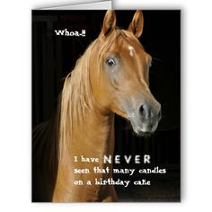 Old Nag Funny Over The Hill Birthday Card With Surprised Horse On Front
