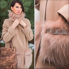 Пальто с меховыми карманами, которые декорированы бисером и камнями!!! Доступно к заказу!!! ❤️
