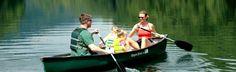 Canoeing on Bald Mountain Lake at Rumbling Bald Resort on Lake Lure, NC.  Great family trip!