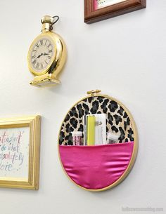 Make a no sew embroidery hoop wall organizer