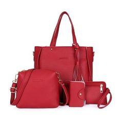 Adisputent Women Bag Set Top-Handle Big Capacity Female Tassel Handbag  Fashion Shoulder Bag Purse Ladies PU Crossbody Bag b57498ecbebcf