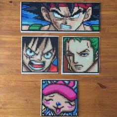 Some portraits I need to iron. 6 more to add to the One Piece set.  #perler #perlerbeads #hamabeads #fusebeads #dragonballz #dbz #dragonball #bardock #onepiece #luffy #zoro #chopper #mugiwara #saiyan #anime #manga