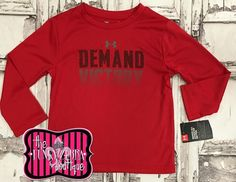 Under Armour for Boys Red Demand Victory Long Sleeve Top Size 2T-7