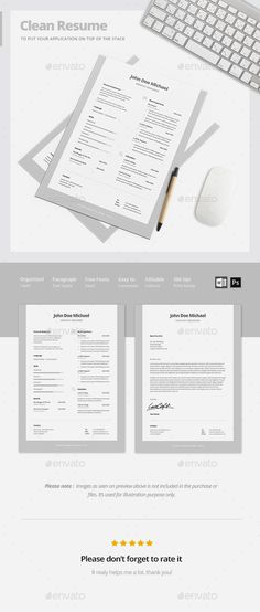 Clean Resume Templates Fonts, Template and Gray - clean resume design