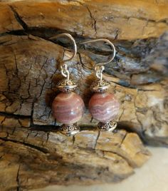 These genuine bijou Rhodochrosite drop earrings are perfect for everyday wear. Completed with sterling silver hooks. My Etsy Shop, Handmade Jewelry, Buy And Sell, Drop Earrings, Sterling Silver, Awesome, Stuff To Buy, Hand Print Ornament, Handmade Jewellery
