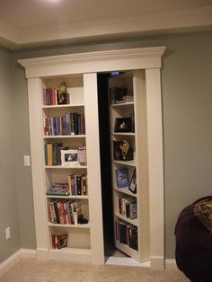 Love this idea for the basement, book shelf/hidden door for extra storage for kids stuff. Basement Basement Storage Design, Pictures, Remodel, Decor and Ideas - page 16 Put them before the stairs to bedroom in fifth wheel tiny house Basement Storage, Basement Walls, Basement Bedrooms, Basement Bathroom, Basement Decorating, Decorating Ideas, Attic Bathroom, Rustic Basement, Basement Layout