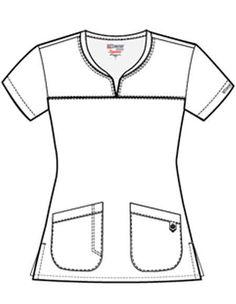 Greys Signature Women's Two Pocket Notch Yoke Neck Scrub Top Scrubs Outfit, Scrubs Uniform, Scrubs Pattern, Beauty Uniforms, Stylish Scrubs, Medical Scrubs, Fashion Design Sketches, Scrub Tops, Feminine Fashion