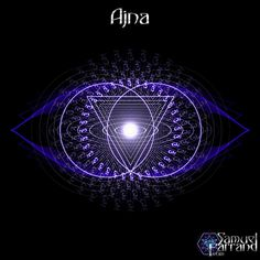 Ajna (Sanskrit: आज्ञा) or third-eye chakra is symbolised by a lotus with two petals, and corresponds to the colours violet or indigo, traditionally described as white. It is at this point that the two side nadis Ida (yoga) and Pingala are said to terminate and merge with the central channel Sushumna, signifying the end of duality, (e.g. light and dark, male and female). The seed syllable for this chakra is OM, the presiding deity is Ardhanarishvara, half male, half female Shiva/Shakti.