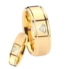 His and Hers 2pcs Tungsten Carbide Superman Gold IP Step Edges Ring Set Size 4 to 14