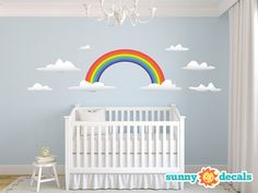 Jumbo Rainbow Wall Stickers & Wall Decals for Nursery and Kids Rooms by Sunny Decals on Etsy, $59.99