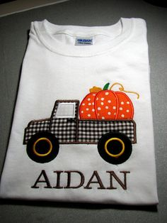 Personalized Pumpkin in pickup truck shirt for boys great for Halloween Thanksgiving or Fall. SHORT or LONG SLEEVES on Etsy, $22.00