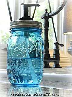 ball jar hand soap dispenser, repurposing upcycling, All you need is an old pump from an old hand soap dispenser a jar soap and a drill or h...
