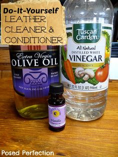 DIY Leather Cleaner  Conditioner:  Simply mix up 1/4 cup olive oil, 1/2 cup white vinegar, and a couple of drops of your favorite essential oil in a clean empty spray bottle and lightly spray your leather surface. See how dry and cracked it is? *Before doing this, I recommend trying it in an inconspicuous place first...just to make sure it is safe for your leather.