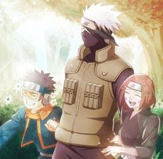 Kakashi with young Obito and Rin.