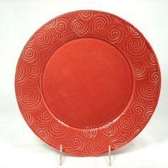 Red Ceramic Plate, Textured Ceramic Plate, Coral Red Dish, Red Pottery Platter, Red Ceramic Dish, Red Dinnerware, Large Red Dinner Plate