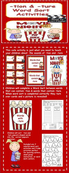 A fun and exciting way to teach your class about the sounds of -tion & -ture. Reading Tutoring, Reading Fluency, Guided Reading, Word Work Activities, Phonics Activities, Reading Activities, 3rd Grade Writing, 2nd Grade Math, Second Grade